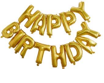 Happy Birthday Balloons   Gold Foil Balloons   Party Balloons   Happy Birthday   Happy Birthday Bunting   Gold   Balloons   Party Bunting