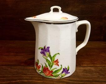 Antique Harker pichet à café et couvercle avec tulipes violet et Orange des années 1930