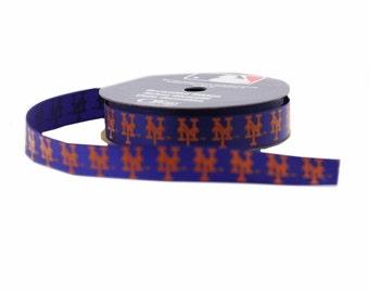 Offray MLB New York Mets Fabric Ribbon, 5/8-Inch by 9-Feet, Blue/Orange