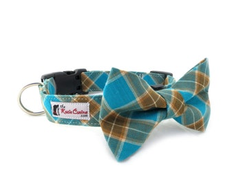 Teal and Brown Tartan Dog Collar (Turquoise Plaid Dog Collar Only - Matching Bow Tie Sold Separately)