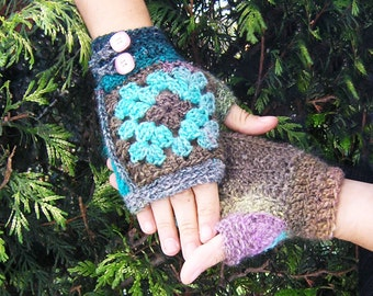 Granny mitts - Crochet pattern PDF for grany square fingerless gloves with Noro Silk Garden self-striping yarn