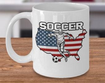 Soccer 11oz White Coffee Mug Player Kicker American Flag Gift for Soccer Players, Soccer Gift Idea, Soccer Coach Gift, Soccer Mug