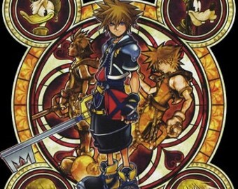 Cross Stitch Pattern for Kingdom Hearts Keyblade Master and Friends Stained Glass