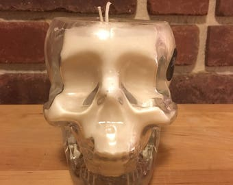 Skull Upcycled Crystal Head Vodka Soy Wax Candle, Handmade Custom Scented Recycled Bottle, Best smelling gift for him or her
