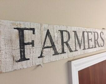 Wooden Farmers Market Sign, Reclaimed, Vintage
