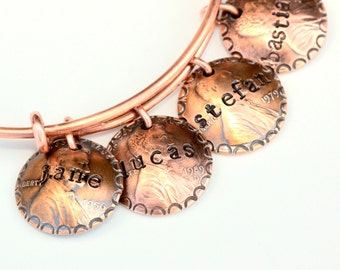 Personalized Penny Bracelet * Sentimental Gift * Personalized Jewelry * Custom Bracelet * Coin Bracelet * Coin Jewelry * Name Jewelry