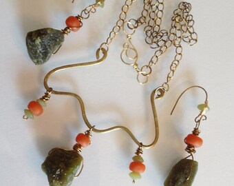 Chunky Jade With Orange African Bottle Glass Necklace and Earrings Set Handmade
