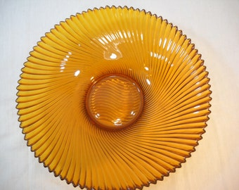Vintage Amber Glass Ruffle Bowl Sawtooth Swirl Edging Made in France Free Shipping