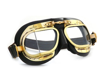 Halcyon Mark 49 Classic Goggles / Black Leather Facemask / Hand-Stitched onto Antique Brass Frames / For Open Faced Motorcycle Helmets