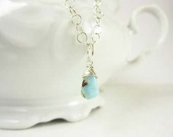 Light Blue Larimar Pendant - Natural Gemstone Larimar Jewelry - Sterling Silver Charms - Wire Wrapped Jewelry Handmade - Blue Gemstones