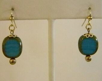 Gold Tone Blue Green Variegated Czech Beaded Pierced Earrings