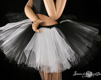 Monster Black and white tutu skirt adult extra puffy costume gothic club wear petticoat dance ballet - You Choose Size - Sisters of the Moon