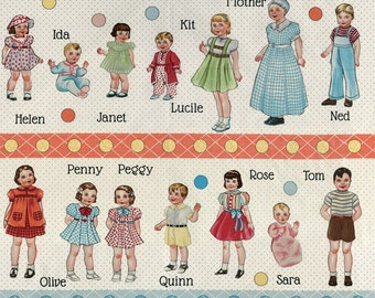 Moda Fabric Hop Skip and a Jump Retro Alphabet Kids/Paper Dolls, panels