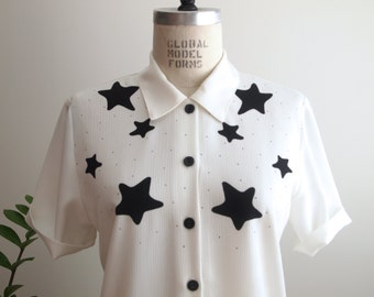 vintage black and white CELESTIAL STARS blouse