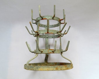 RESERVED FOR RITA French Vintage Wine Bottle Drying Rack in French a ' Herrison ' Small Size
