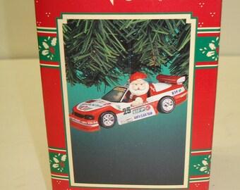 "1995 Enesco Treasury Of Christmas Ornament- ""Santa's Speedway""  Nascar Racing - New in Box"