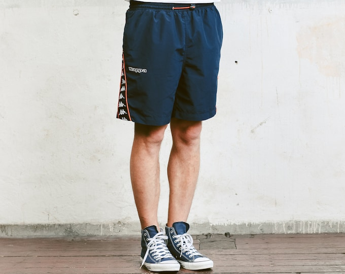 Vintage Men's Kappa Shorts . Retro Blue Shorts Men's 90s Sportswear Unisex Summer Shorts Vacation 1990s Swim Trunks . size Large L