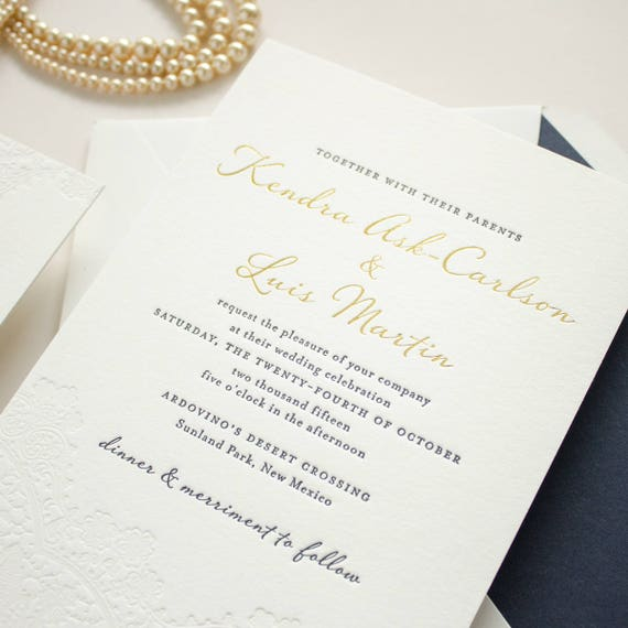 Gold Foil Wedding Invitation, Blind Impress Lace, Navy Letterpress, Blind Letterpress Romantic Invites, Letterpress SAMPLES | Harmony
