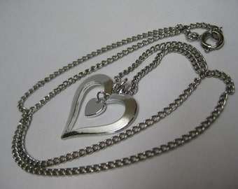 Heart Silver Necklace Dangle Vintage Pendant