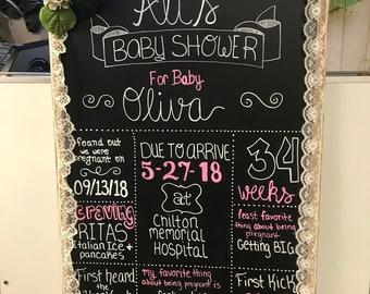 Hand written chalkboard for a baby shower