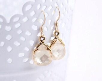 Bridesmaid Earrings Crystal Golden Shadow Wedding Earrings in Gold
