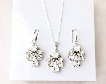 Opal Bridal Jewelry set, Wedding jewelry set, choose any color Jewelry, white opal Swarovski Rhinestone Jewelry, Statement CYNTHIA