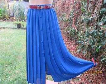 Long Pleated Skirt / Pleated Skirts / Skirt Vintage / Blue Skirt / Navy Pleated Skirt / Elastic Waist / Size EUR36 / 38 / 40 / UK8 / 10 / 12