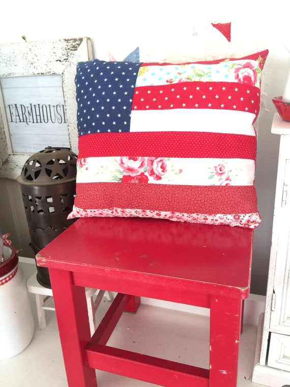 """Country Style Flag Pillow- Regular Size 10"""" x 11 1/2"""""""