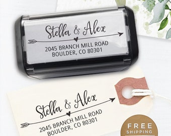 Self inking return address stamp, custom stamp, calligraphy wedding stamp, personalized address stamp - Stella