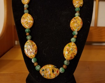 Dark Orange mother of pearl shell and resin necklace