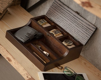 Wooden Valet box for watches and accessories Hetch DDS071 - Wenge, Custom Watch Box, Men's Watch Box, Valet Box, Watch Box for Men,