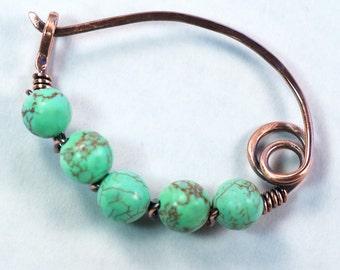 Copper Shawl Pin, Magnesite Beads, Copper Sweater Pin, Handmade Shawl Pin, Copper Scarf Pin, Mother's Day Gift, Copper Fibula
