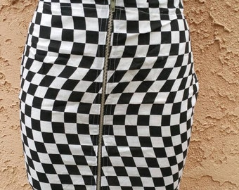 Illusion checkerboard pencil zip up skirt