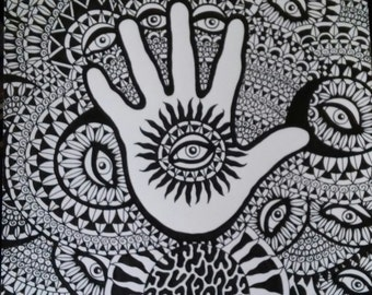 Pen and Ink Drawing Hand Eyes and Planets