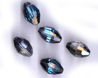 five vintage swarovski crystal beads BERMUDA BLUE, old article 351, AB, 15mm x 10mm