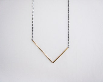 brass asymmetrical V necklace, long