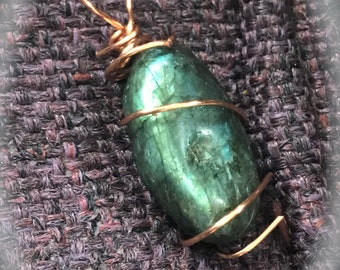Labradorite, copper wired