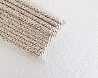 1.1 yards beige , 5 mm twist cord, twisted , Wrapped Thread Cord, Satin Twisted cord , Decoration,Fabric Rope Trim Accent for Crafting