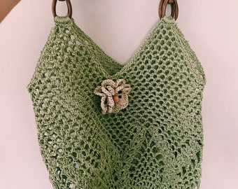 Crochet bag, netbag in green, %100 paperfibre, knitting, beach bag, net bag, green bag