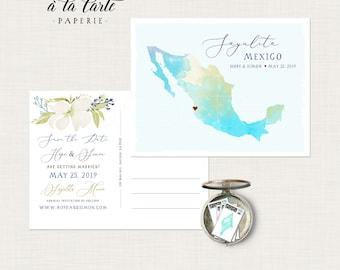 Mexico Destination wedding Sayulita Cabo map beach wedding invitation Save the Date Postcard Mexican wedding Deposit Payment