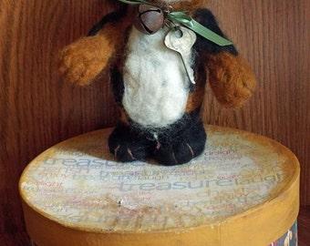 Vintage Antique Style Needle Felt Woodland Cat Cub Miniature Animal Ooak Wool Folk Art