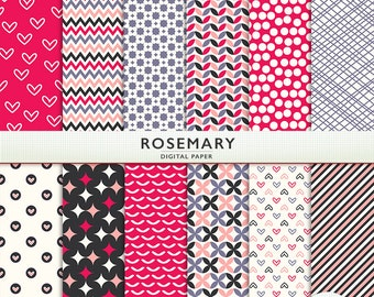 """Bright Digital Paper - """"Rosemary""""  -  Pink - Baby Girl  - Scrapbooking Instant Download G5069"""
