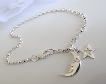 moon stars anklets by charmed sterling silver anklets hand made and pretty