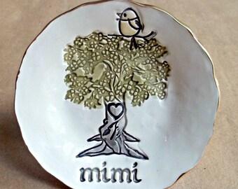 MIMI Family tree with 1 Birdy Ceramic  Trinket Bowl  Mothers day