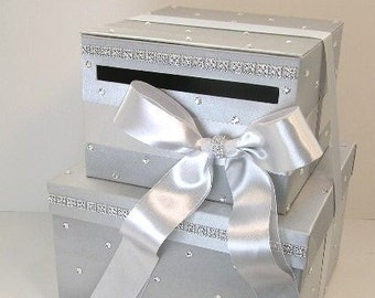 Wedding Card Box Silver 2 tier Gift Card Box Money Box Holder-Customize your color