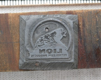 Lion Petroleum Products Logo Printers Block Letterpress Metal on Wood Old Vintage Collectible Shadowbox Decor Craft Supply