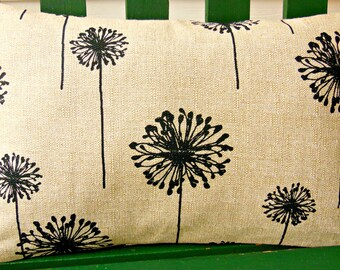 Tan Black Dandelion Throw Pillow Decorative Cushion COVER Beige Couch Pillow ALL SIZES One or More Linen Bed Pillow Burlap Like Pillow Sham