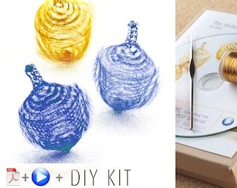 Hanukkah Craft, Hanukkah Gifts, how to wire crochet a DREIDEL that spins , a handmade spinning top KIT toupie, Hanukkah gift ideas