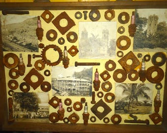 Dr John H Galey Mixed Media Shadowbox Art Rusty Washers Bolts Plugs Photographs