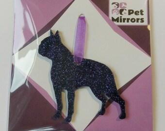 Glitter acrylic Boston Terrier Style 1 Christmas decoration - 9 colour choices